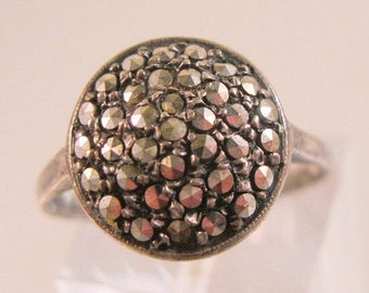 XMAS in JULY SALE Vintage Estate Marcasite Sterling Silver Ring Size 8 Marked Silver