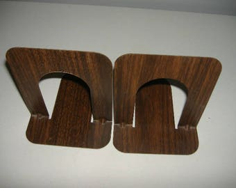 SALE. ex libris. Matched pair vintage faux bois wood grain metal industrial bookends. These are genuine library salvage.