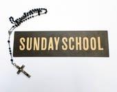 Vintage Church Sign, Sunday School Sign, Church Register Board Sign, Religious Ephemera, Church Ephemera, Religious Mixed Media Supply