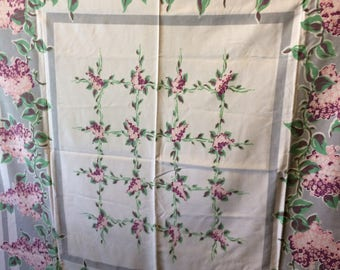 Vintage Mid Century 50s Green Pink White Floral  Cotton Tablecloth Table Linen 52 x 46 Inches