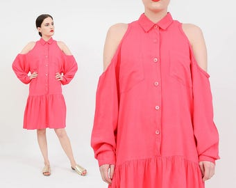 Vintage 90s Coral Pink Dress | Cut Out Cold Shoulder Shirt Dress | Dropped Waist Mini Dress | Collared Button Down Minimal Tent Dress | M L