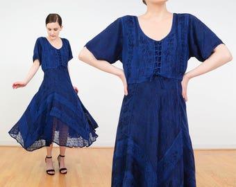 90s Navy Dress | Gypsy Grunge Dress | Floral Dress | Blue Embroidered Dress | Chevron Striped Dress | Corset Dress | Boho Midi Dress | S M