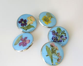 5 Real Flower Buttons, Pressed Flowers On Resin, Shank Buttons (3094)