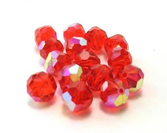 Vintage Swarovski Coral AB Crystal Rounds (8mm)