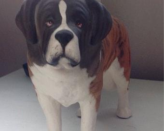 Saint Bernard Dog ,Vintage Ceramic Saint Bernard Dog Figurine, Saint Bernard Mountain Dog Figurine