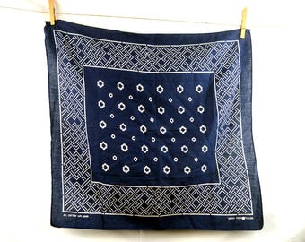 Vintage Fast Color Blue Cotton Bandana Kerchief - #D29