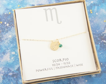 gold zodiac SCORPIO necklace, birthday gift, custom personalized, gift for women girl, minimalist, simple necklace, layered