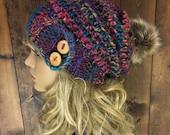 Crochet Slouchy Hat Faux Fur Pom Pom / MERAKI / Rainbow Mountain