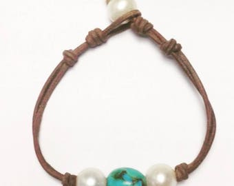 Kingman Turquoise, Pearls and Leather Bracelet