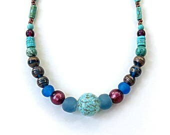 "VENETIAN FOILglass 17 1/2"" necklace,MURANO sparkle,Ghana Krobo,vintage India swirl,aqua,bronze,copper,turquoise,dark turquoise,heishi"