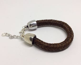 6.5 Inch Sorrel Horse Hair Braided Horsehair Bracelet - 10MM Round Braid