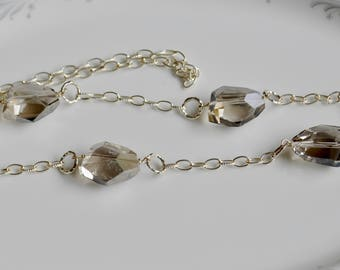 Crystal and silver chunky chain necklace, statement necklace, long crystal necklace