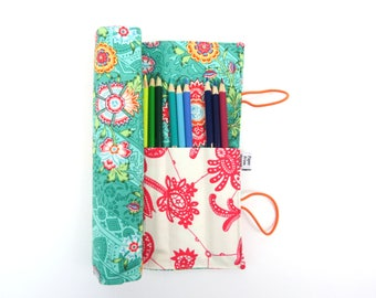 Pencil Case - Heriloom  - flower pencil roll, Bible Journaling, adult coloring, colored pencil holder