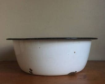 Memorial Day Sale. Vintage Black and White Enamel Bowl