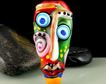 Freakheads - Glass Sculpture Focal bead -  Glass Art by Michou P. Anderson including Signature - Free shipping