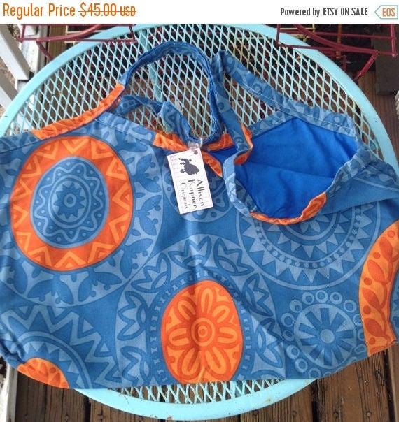 SALE Blue orange tote.  Reversible IKEA abstract large fabric purse bag.  University of Florida Gators colors. Handmade tote. Handmade bag.