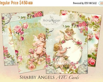 SALE - 30%OFF - Shabby Angels ATC Cards - Digital Tags - Digital Download Sheet - Shabby chic cards - Digital Collage - Victorian Cards