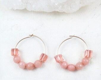 Peach Earrings, Peach Beaded Hoops, Gold Hoops, Blush Earrings, Pastel Earrings, Blush Earrings, Gold Filled Hoops