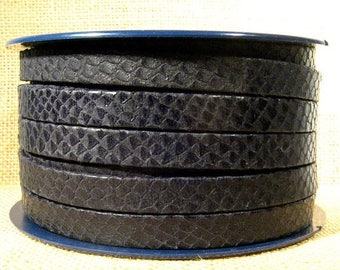 10mm Flat Leather - Black Snakeskin Texture - Choose Your Length