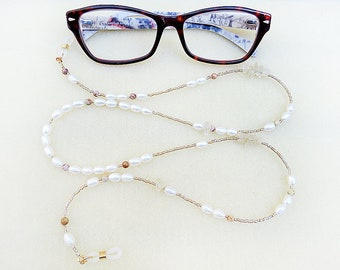 Pearl Glasses Chain, Boho Beaded, Freshwater Pearls, Crazy Lace Agates, Gold Citrine, White Pearl, Handmade, Eyeglass Chain, Gift for Woman