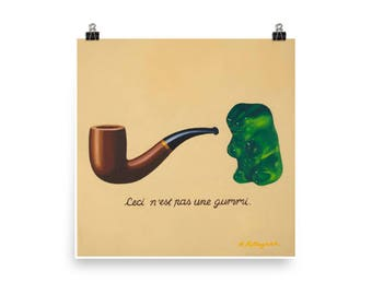 This is not a Gummy - Art Print from original painting, surrealism, humor, Magritte, kitsch, fine, art history, funny, satirical, pop art