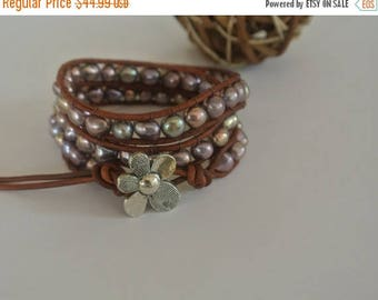 50% OFF SALE Ellie Freshwater Pearl Beaded Leather Wrap Bracelet