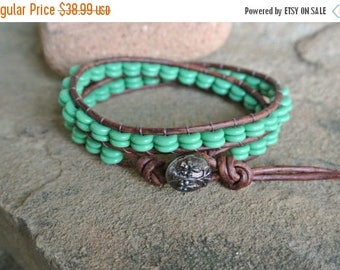 SALE 60% OFF Floret Turquoise Glass Beaded Leather Wrap Bracelet