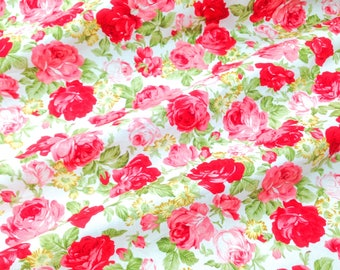"Quilt Half Yard Cotton Fabric 18x44"" Vintage Retro English Floral Roses"