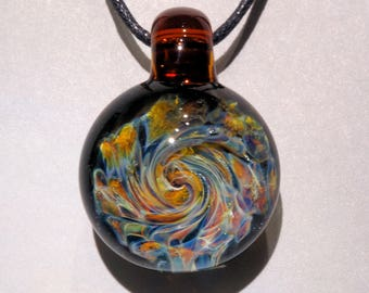 Blown Glass Pendant Burst of Color Necklace Lampwork Hand Blown Glass Art Jewelry Focal Bead by J Hills Glass Art
