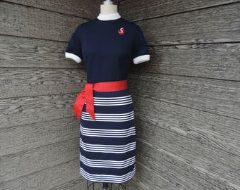 1960s nautical stripe dress mod navy and white striped skirt dress medium