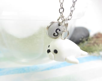 Seal necklace, Initial necklace, personalized necklace, seal jewelry, cute unique gift, letter necklace, seal gift, cute animal necklace