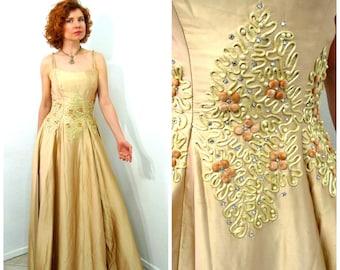 Vintage 1940's dress Emma Domb Golden Yellow Silk Beaded Rhinestone Studded Soutache Evening Prom Gown