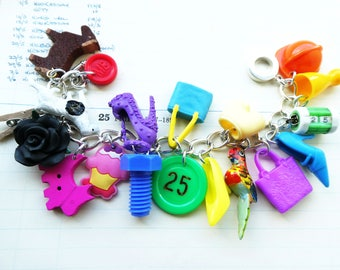 OOAK plastic toys bracelet - kitsch colourful - statement bracelet - rainbow chunky charms bracelet - fun jewelry - dolls accesssories