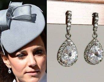 Kate Middleton Rhinestone Teardrop Silver Cubic Zirconia Earrings