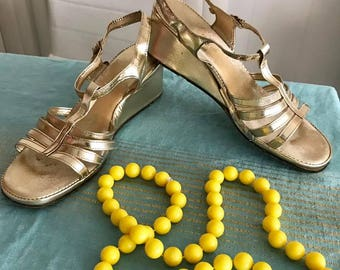 Vintage 1960's Gold Metallic Strappy Wedge Sandals Size 8 US