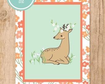 Spring Deer Floral Printable Art