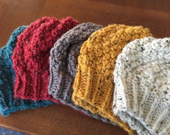 Winter Speckled Slouchy Hat- Warm Earthtone Colors-Oatmeal, Mustard, Teal, Cranberry, Grey