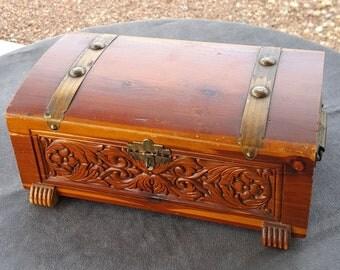 Carved Cedar Trinket Box 1920s Brass Hardware