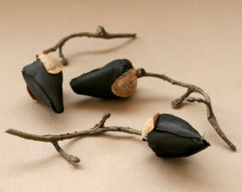 Black Magnolia Buds on Short Branch - Silk Flowers