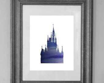 Disney Castle Printable Art Prints / Nursery Decor / Watercolor / Princess / Home Decor / Girl Nursery / Kid Art / INSTANT DOWNLOAD