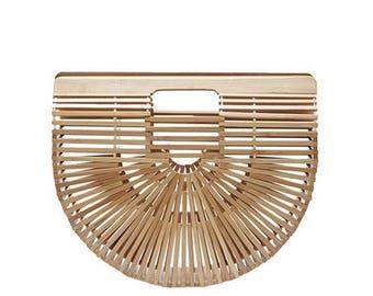 Large Bamboo Basket Bag Designer Inspired