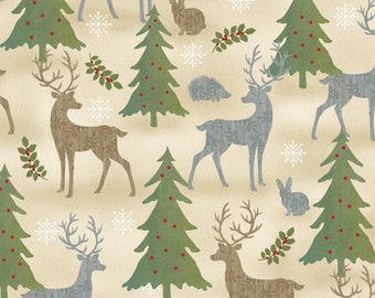Wilmington Prints - Holiday Meadow - Animals Allover - Tan - Fabric by the Yard 70431-273