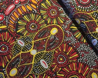 M & S Textiles - Aboriginal - Bush Tucker After Rain Red by Merelen Doolan - Fabric by the Yard BTARR