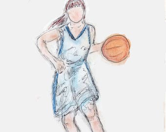 Girls or Womens Basketball 5 x 7 Greeting Card with Matching Envelope -Free Personalization