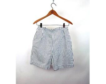 1950s shorts high waist striped navy blue white cotton shorts sportswear Size M