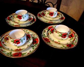 Vintage Orange Black Painted Poppies Austria Bavaria Dessert Set Tea Cup, Saucer, Dessert Plate Poppy Trio