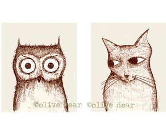 owl and pussycat double portrait - LARGE fine art print