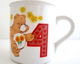 FRIEND CARE BEAR Child's Birthday Mug Age 4 American Greetings 1985
