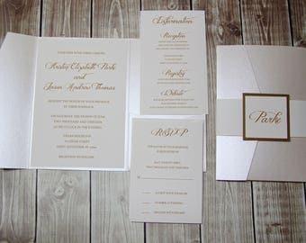 SAMPLE - Opal Shimmer and Gold Pocketfold  Wedding Invitations