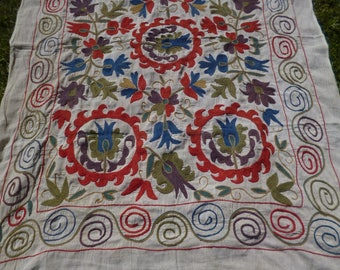 """Beautiful Embroidered  5 ft 10"""" x 4 ft 4"""" Bukhara Throw/Fabric/ Wall hanging.  170 x 127 cm"""